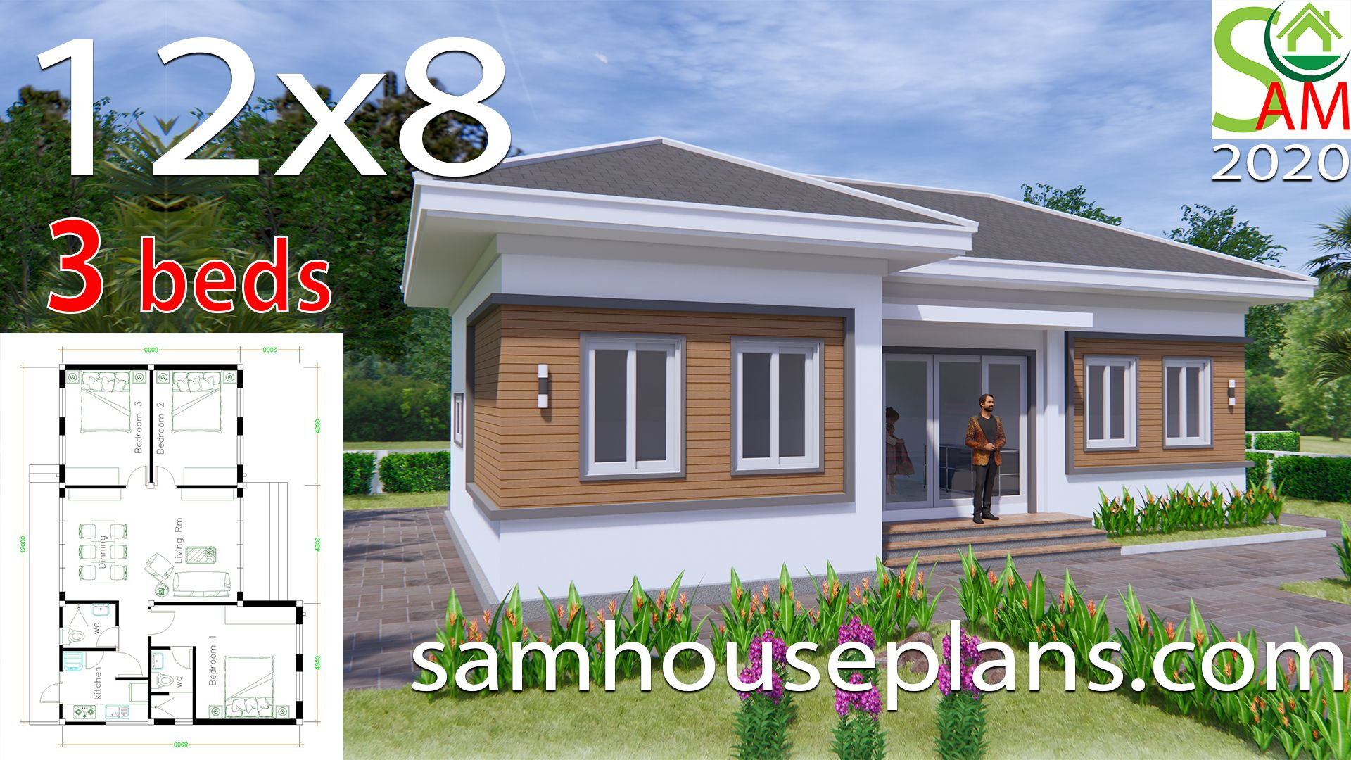 House Plans 12x8 With 3 Bedrooms Hip Roof Sam House Plans House Construction Plan Architectural House Plans Beautiful House Plans