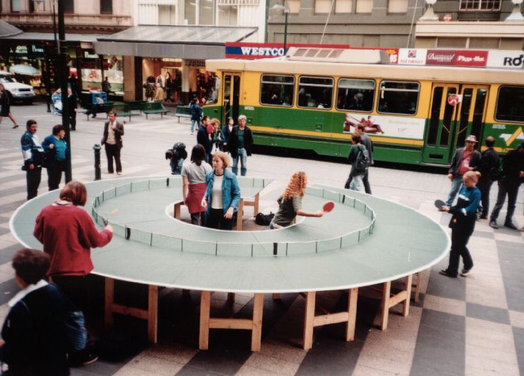 Flashback: 1998 Melbourne (Australia).  Ping-Pong Go Round by Lee Wen. Stop for a while and play.