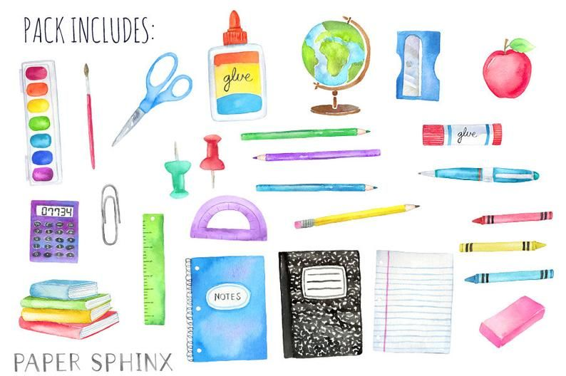 Watercolor Back To School Clipart School Supplies Clipart Crayons Planner Art Supplies Colored Pencil Books Instant Download Back To School Clipart School Clipart Back To School Wallpaper