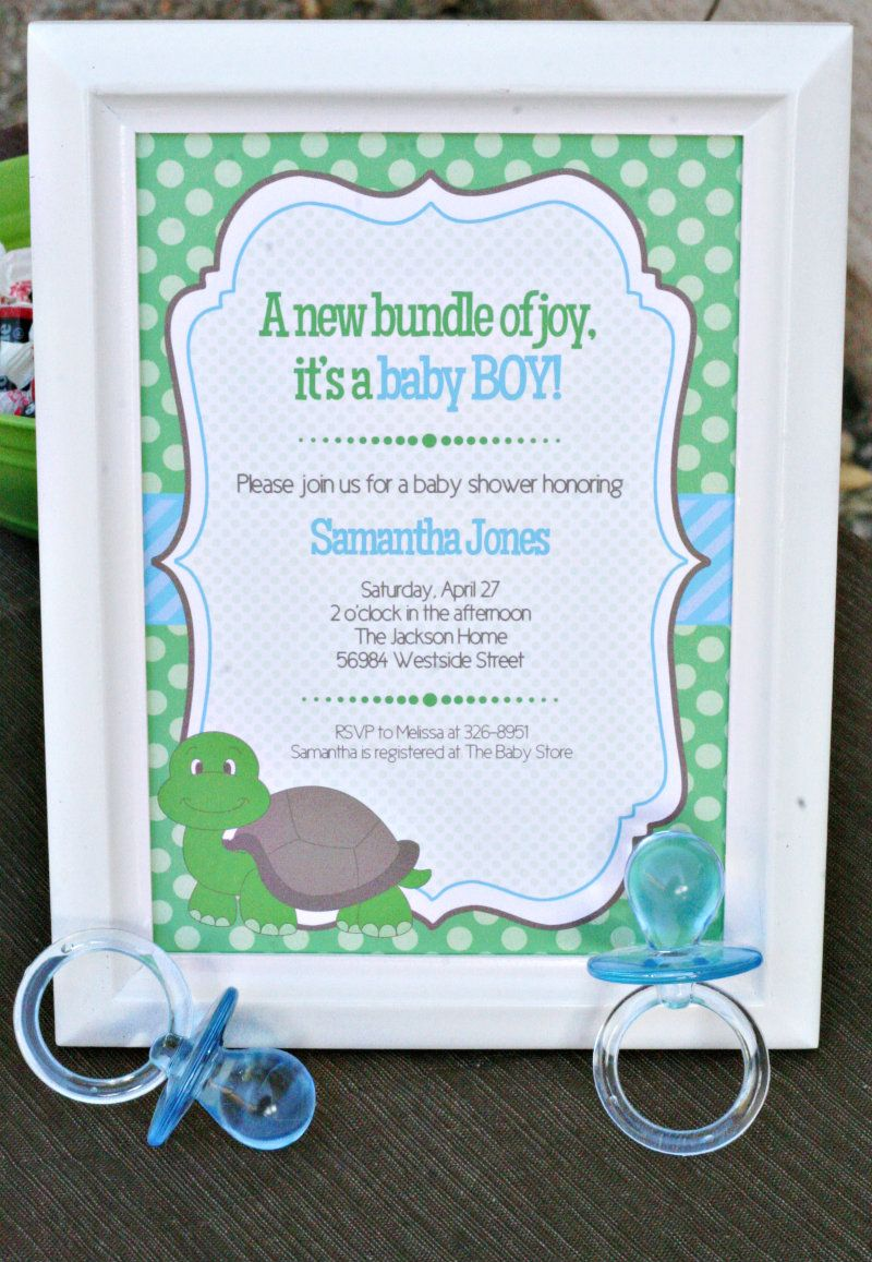 Turtle Baby Shower Ideas #turtleinvitation #turtles # ... - photo#26