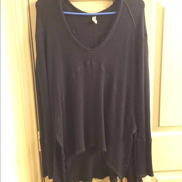 Free People Sunset Park Thermal Sunset park thermal size S in black! The frayed hem is part of the style, not from wear! Cheaper on Ⓜ️ercari. Last pic is to show what it looks like on, it is not grey Free People Tops Blouses