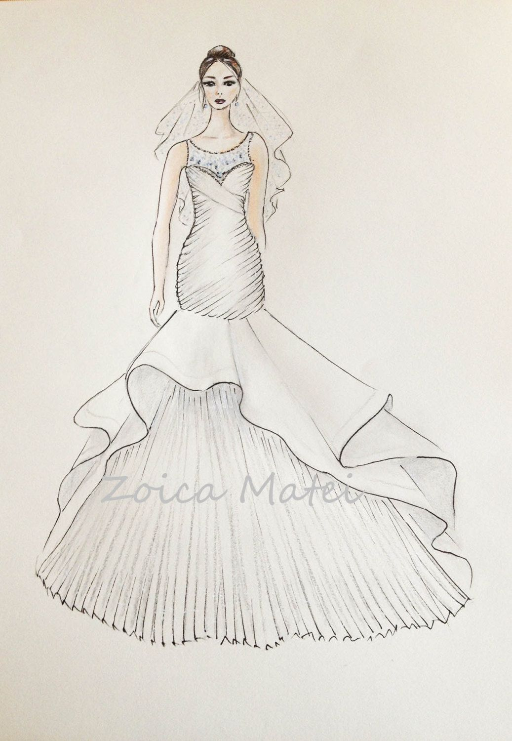 f7adb0a83a Custom Bride Portrait Original Bride With Veil Drawing Custom Wedding Dress  Sketch Paper .