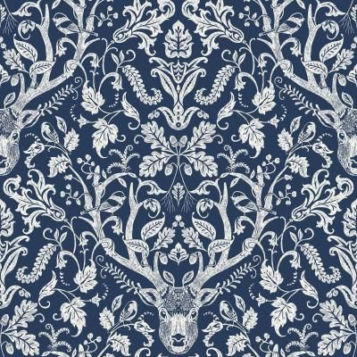 Nuwallpaper Navy Escape To The Forest Peel And Stick Wallpaper Blue Vinyl Peelable Roll Covers 30 75 Sq Ft Nus3680 The Home Depot Damask Wallpaper Peel And Stick Wallpaper Navy Wallpaper