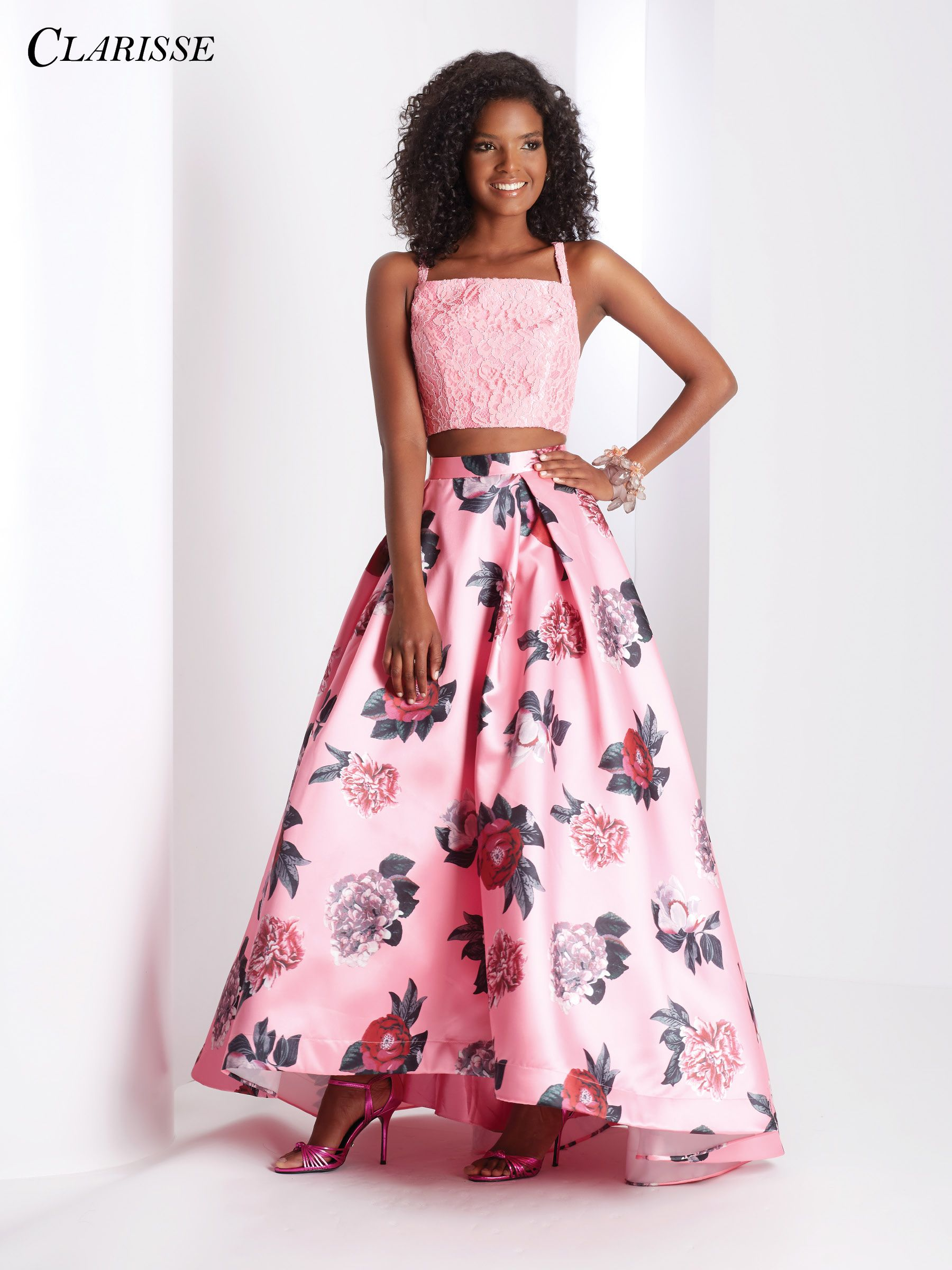 Clarisse Prom 2018 dress 3420. Two piece dress with square neck lace ...