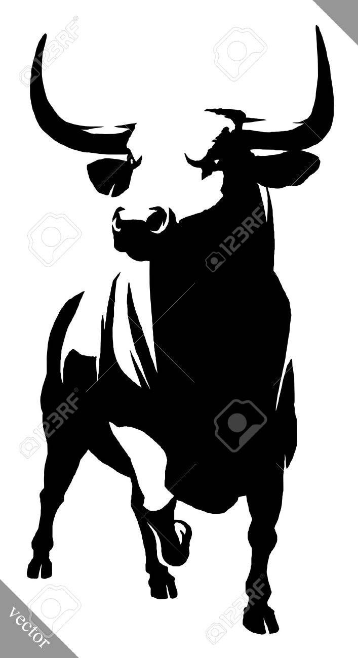 Vector - black and white linear draw bull illustration bull aggression animal art attack background