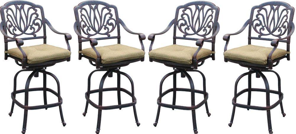 Magnificent Patio Bar Stools Set Of 4 Elisabeth Cast Aluminum Darlee Spiritservingveterans Wood Chair Design Ideas Spiritservingveteransorg