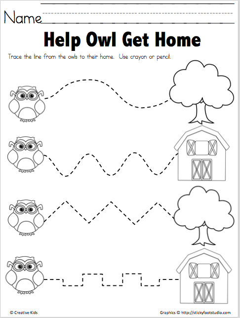 Trace The Path Free Printable Help Owl Madebyteachers Tracing Worksheets Preschool Preschool Tracing Tracing Worksheets