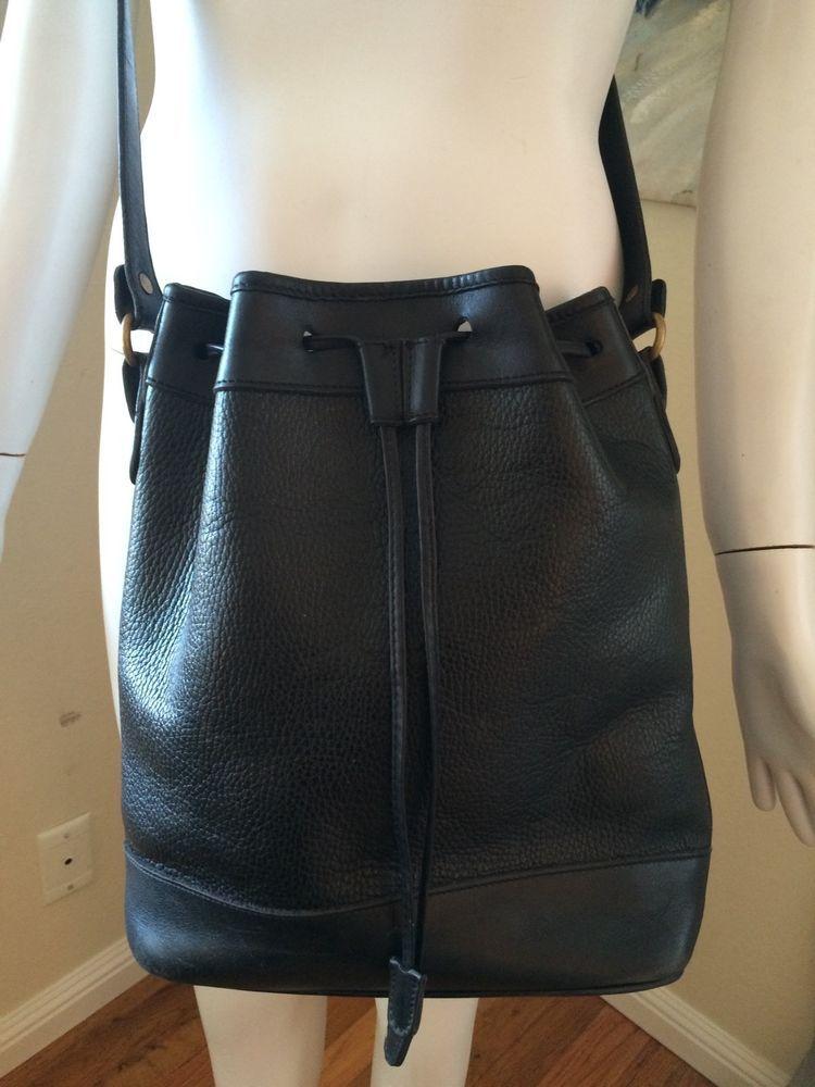 Vintage 80 s 90 s COACH SHERIDAN Black PEBBLED LEATHER Drawstring BUCKET Bag!   Coach  ShoulderBag 784b735436595