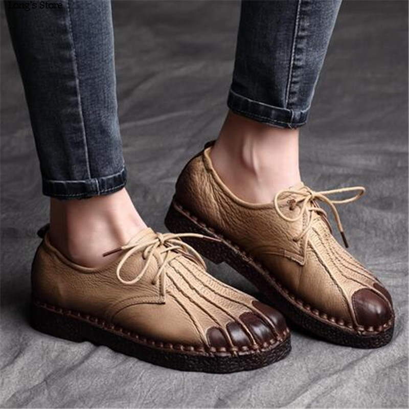 69.56$  Watch now - http://aliyw8.worldwells.pw/go.php?t=32653109844 - CDTS 2016 handmade women's shoes spring new arrival handmade genuine leather national trend vintage heel flat lacing casual 69.56$