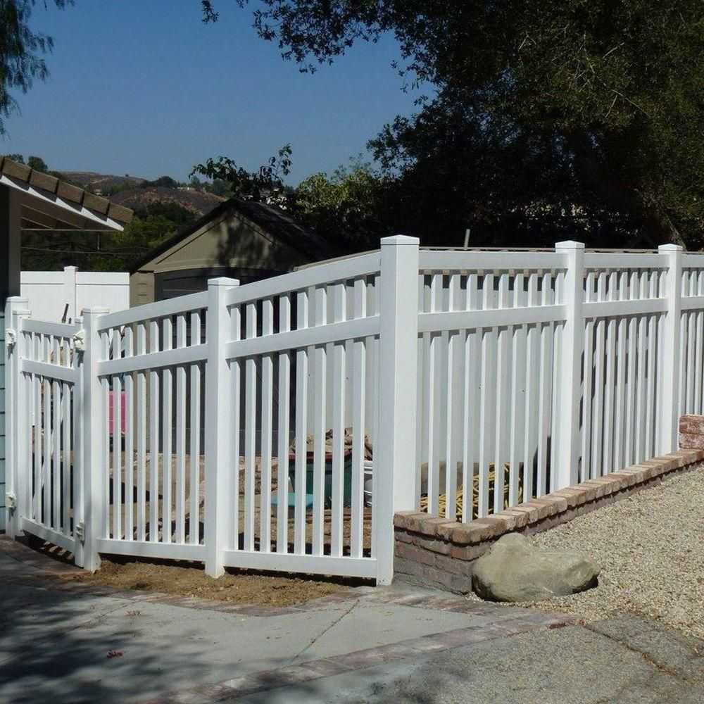 Weatherables Captiva 5 Ft H X 8 Ft W White Vinyl Pool Fence Panel Pwpo 3 5x8 The Home Depot White Vinyl Fence Vinyl Pool Fence Design