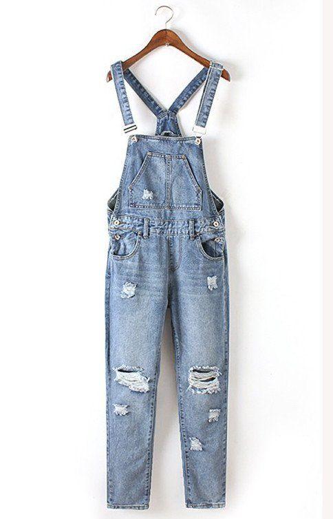 02b1fc27523c pantalones de mezclilla azul liga Ripped Overalls