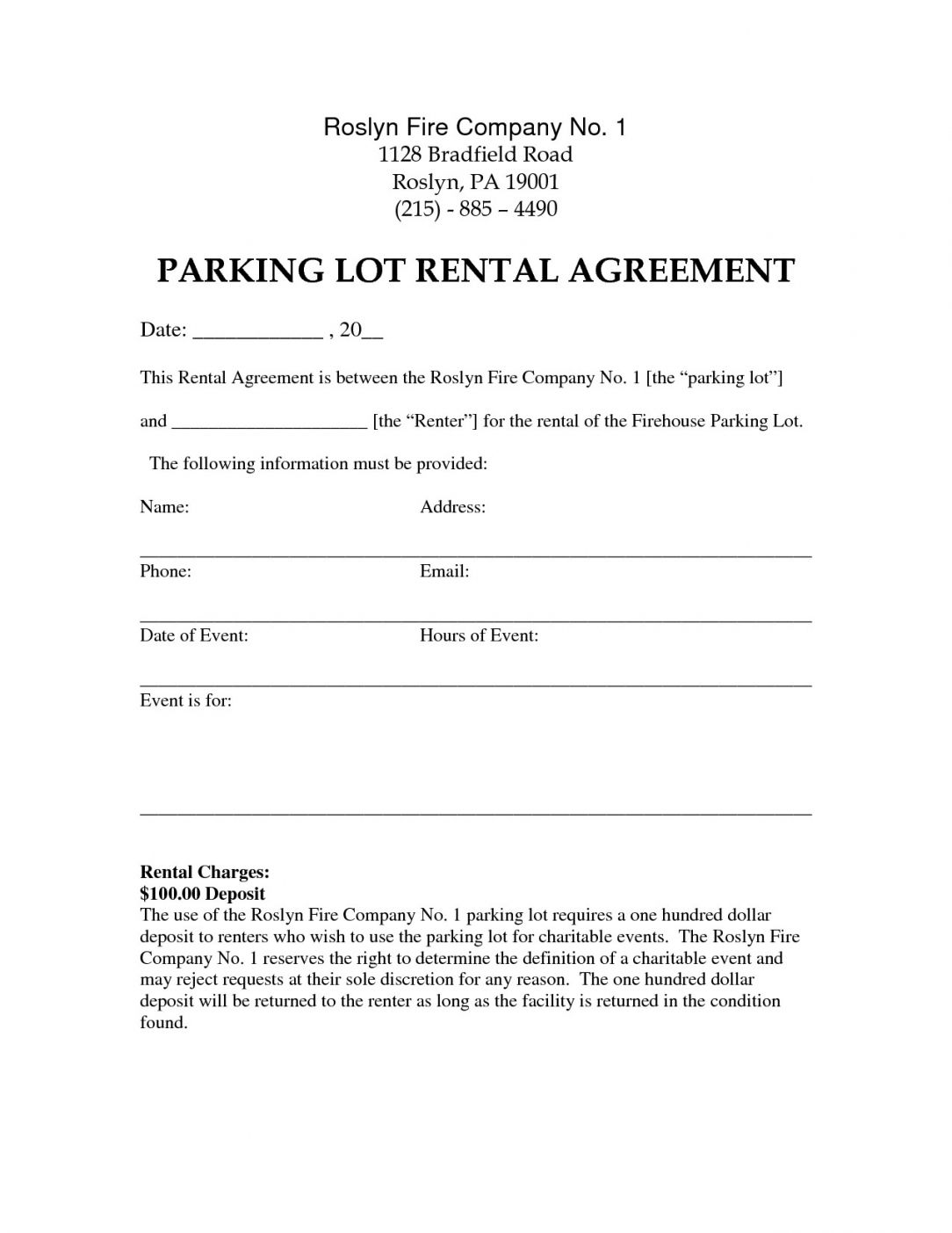 Parking Space Rental Agreement Template In 2020 Templates Agreement