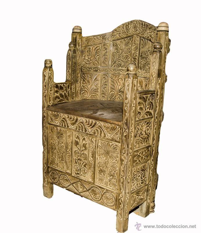 Trono antiguo de madera de abedul estilo bizantino siglo - Sofas antiguos de madera ...