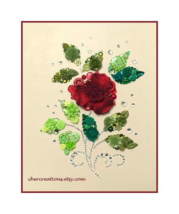 Rose 19 8x10 Button Artwork Button Art Wall Art Flower Art Swarovski Rhinestones Elegant Valentine Love Diy Ooak Made In Usa Button Art Flower Art Button Art On Canvas