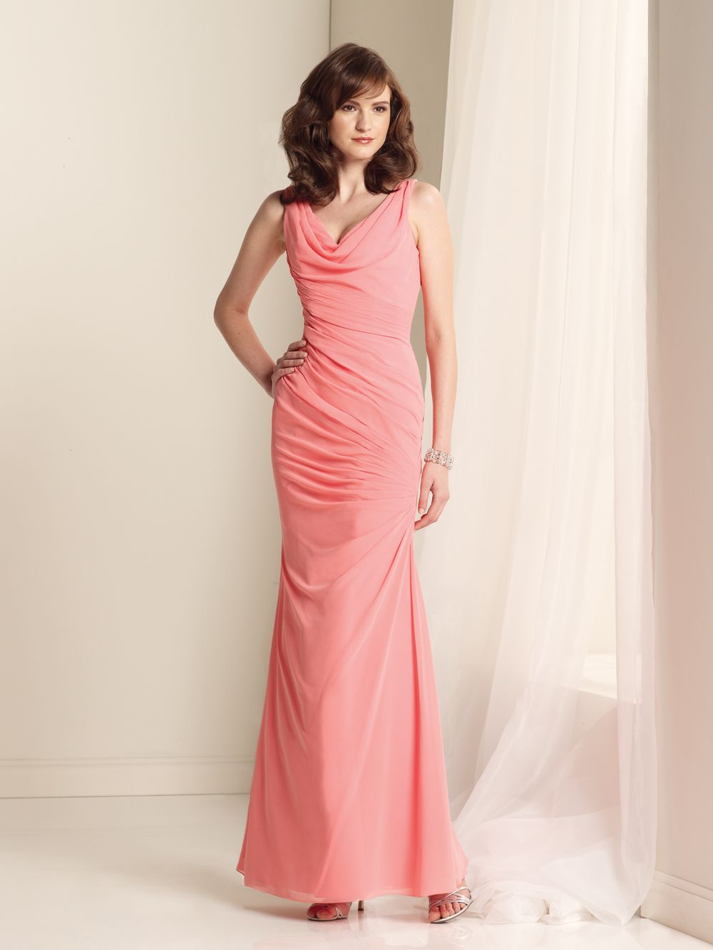 Elegant-Chiffon-Coral-Bridesmaid-Dresses-Floor-Length-Sheath | Coral ...