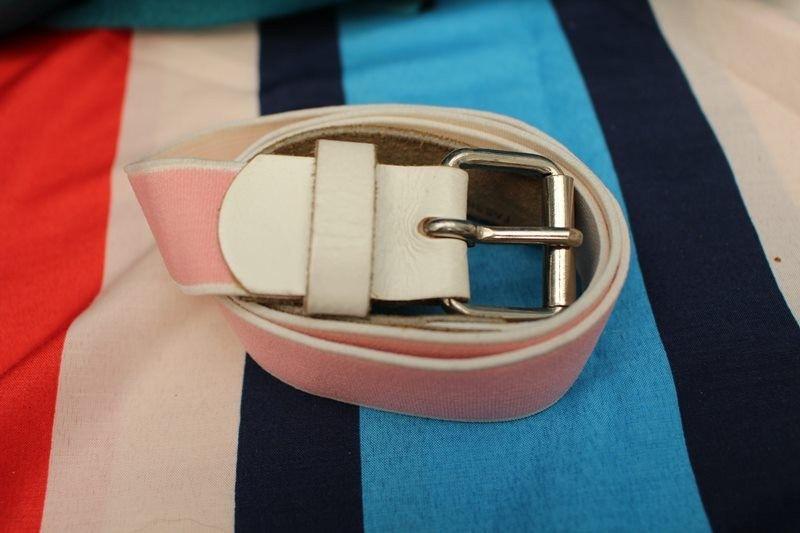 ceinture rose blanc cuir extensible T70/28 vintage retro hippie chic année 60-70