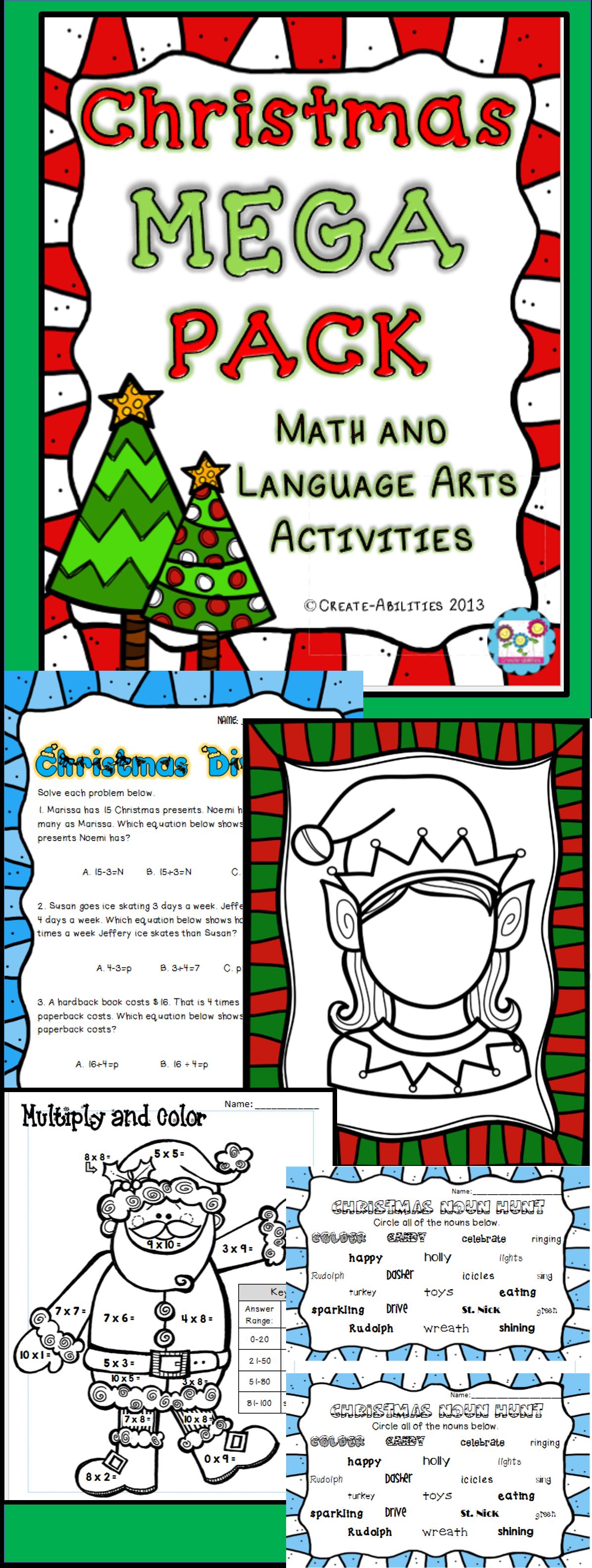 Christmas Reading Writing And Math Activities Grades 3 5