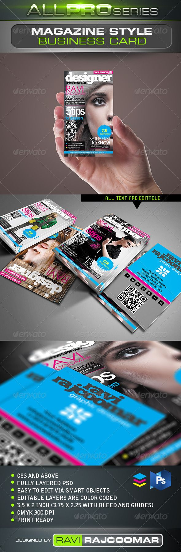 Magazine Style Business Card   Business cards, Print templates and Fonts