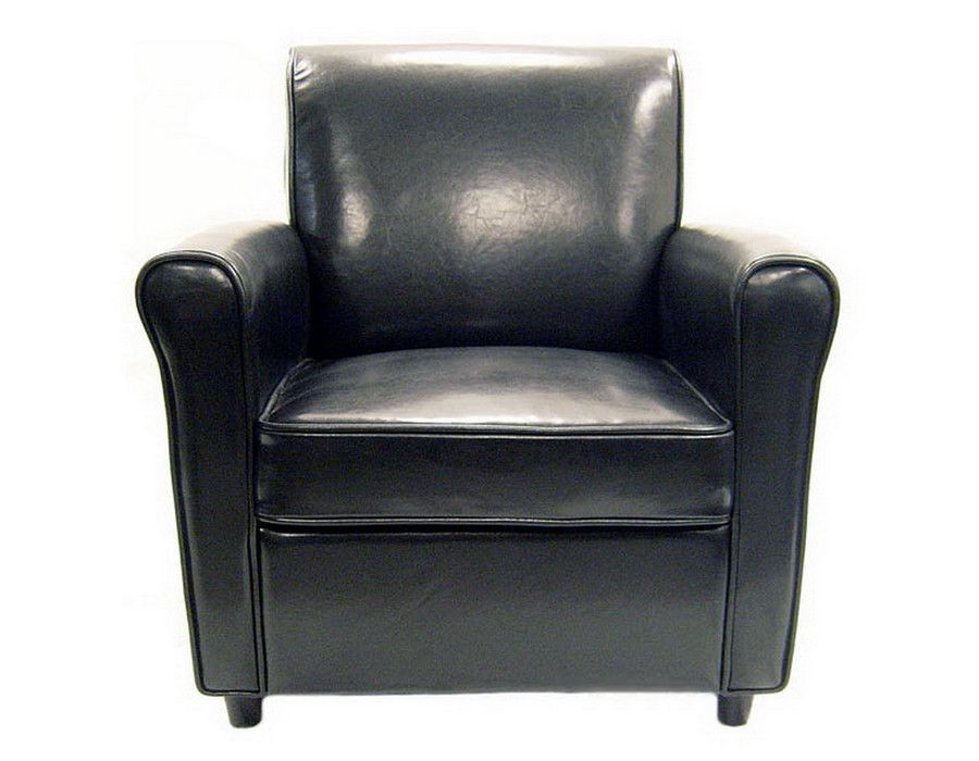 Baxton studio black full leather club chair with images