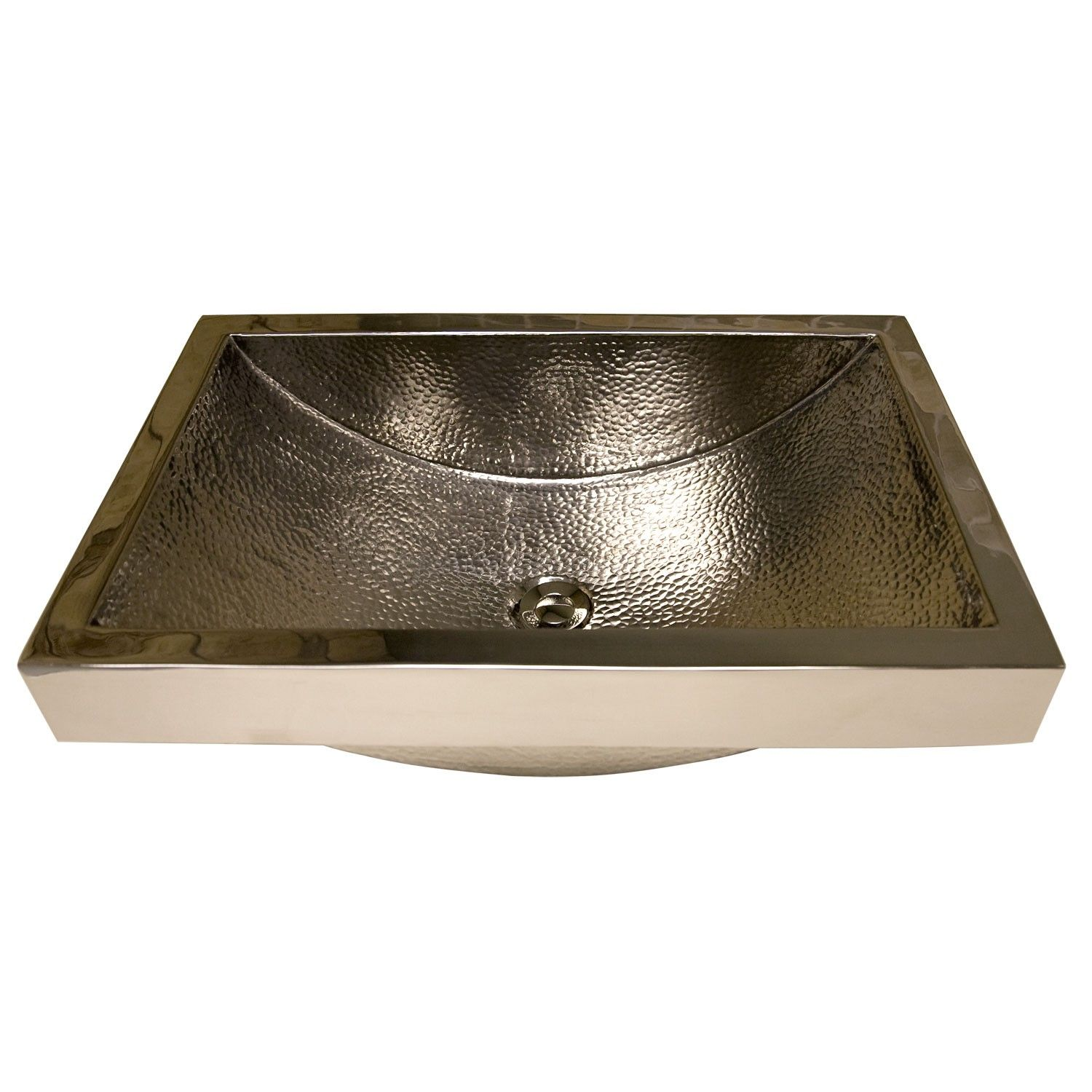 Rossi Hammered Brass Semi Recessed Sink   Polished Nickel   Bathroom Sinks    Bathroom