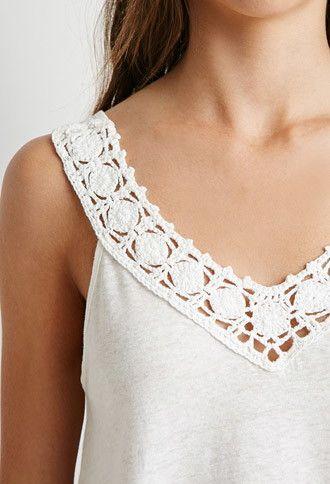 Camiseta Cuello-V Crochet | Forever 21 Mexico