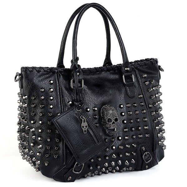Women Skull Tote Bag PU Washed Leather Rivet Studded Ladies Purse Shoulder Bag – Black__ – CM1883RGDCN