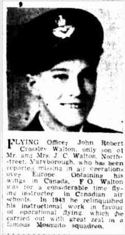 1944 Flying Officer Robert Crossley Walton. Member of famous Mosquito Squadron.