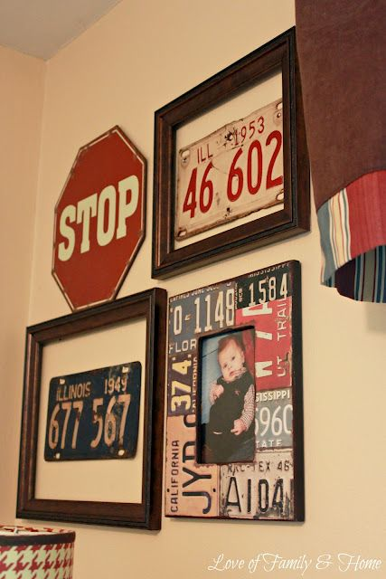 Vintage Baby Boy Nursery Ideas: Gallery Wall Using Vintage License Plates
