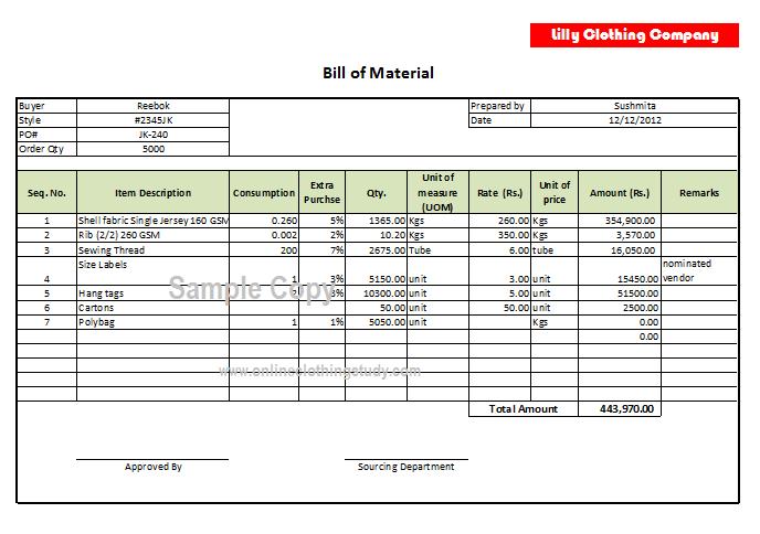 Bill Of Material Bom Format Bill Of Materials Bills Resume Outline