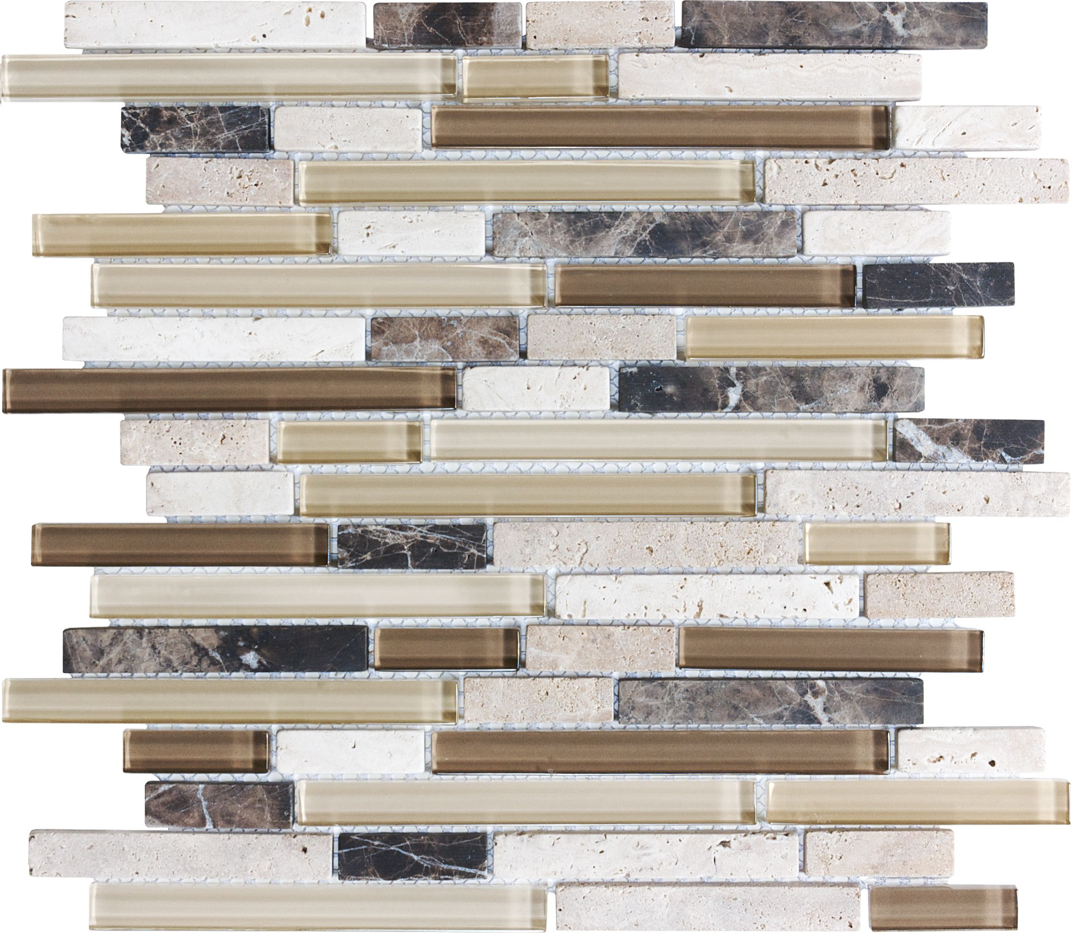 Glass stone mosaic kitchen backsplash photo marazzi pictures to pin on - Anatolia Tile Java Linear Mosaic Stone And Glass Wall Tile Common 12 In