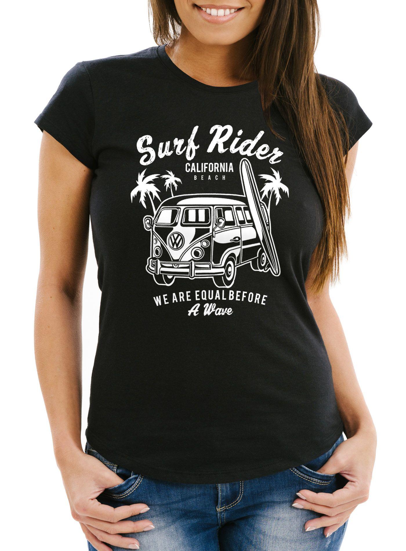 Damen T-Shirt VW Bus Bulli Surfing Retro Samba T1 T2 T3 Slim Fit Neverless