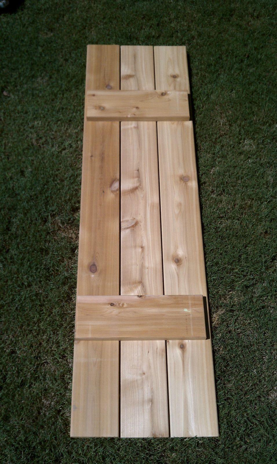 Craftsman style cedar board and batten shutters board