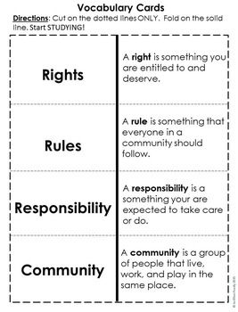 Rights Rules And Responsibilities  Social Studies Citizenship
