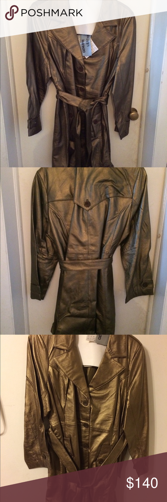 Centigrade Genuine Leather Trench Coat Brand New With Tags Never Worn Glove Leather Coat Measures 37 Long From Clothes Design Fashion Design Beautiful Coat [ 1740 x 580 Pixel ]