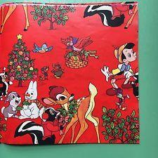 vintage bambi christmas wrapping paper walt disney ephemera2 sheets 20x30