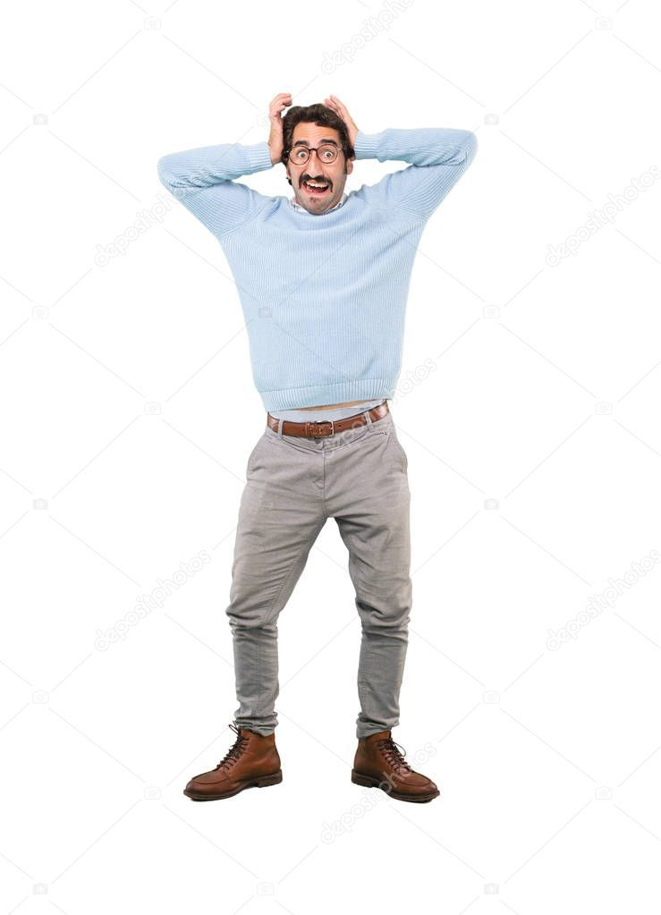 Young Crazy Man Scared Expression Full Body Cutout Person White Stock P Affiliate Scared Expression Man Young Ad