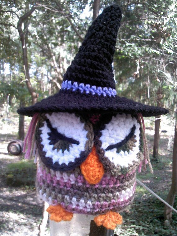 Crochet pink camo owl,owl toilet paper cover,crochet witch owl ...