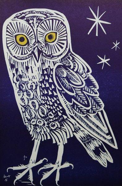 owl by mark hearld linocut illustration birds pinterest gravure linogravures et chouette. Black Bedroom Furniture Sets. Home Design Ideas