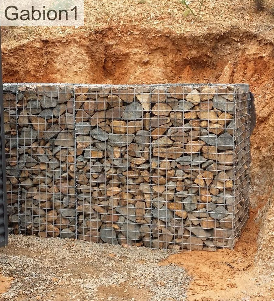 Gabion Retaining Wall Hides The Clay Bank From View. Http