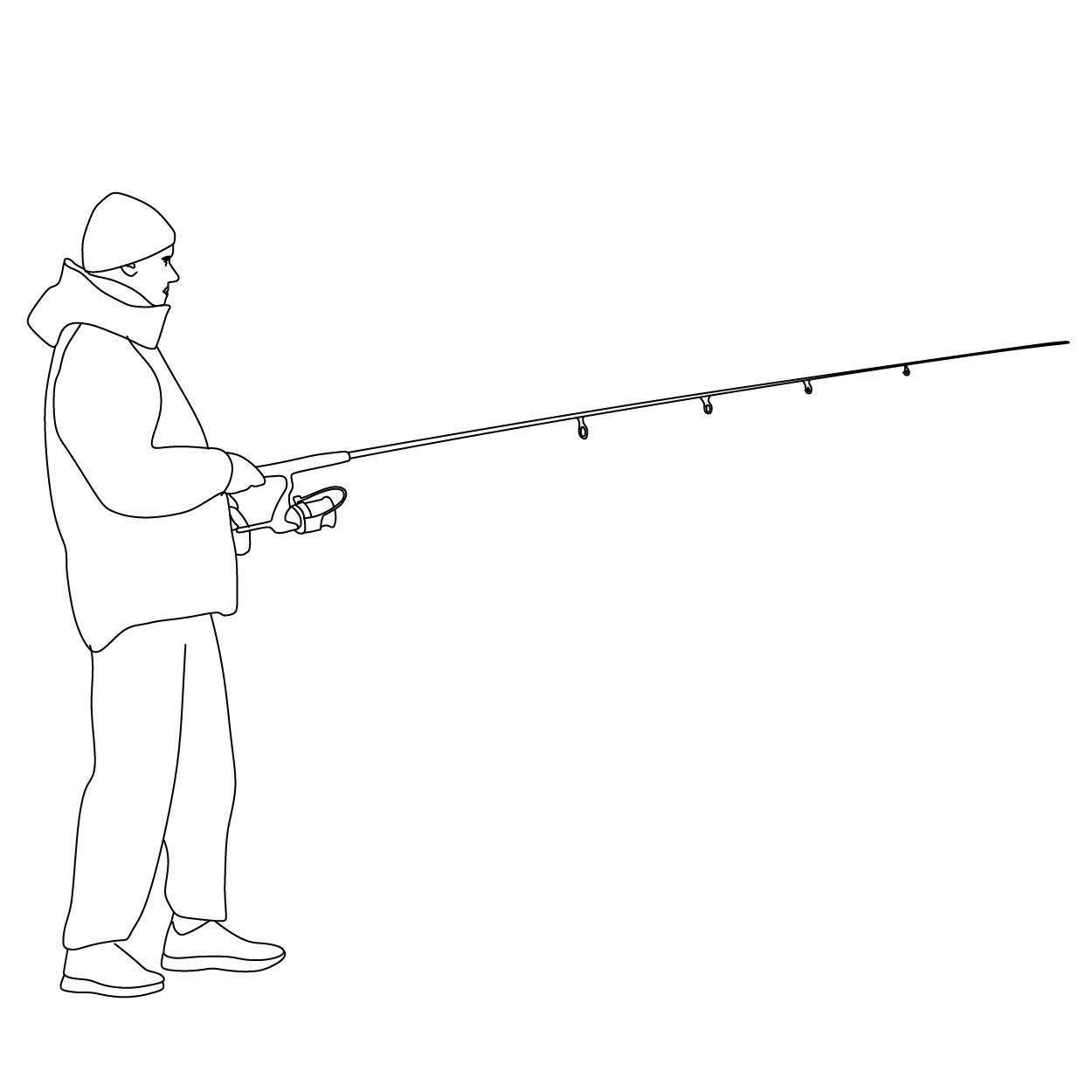 Man Fishing People Illustration Fish Illustration Drawn Fish