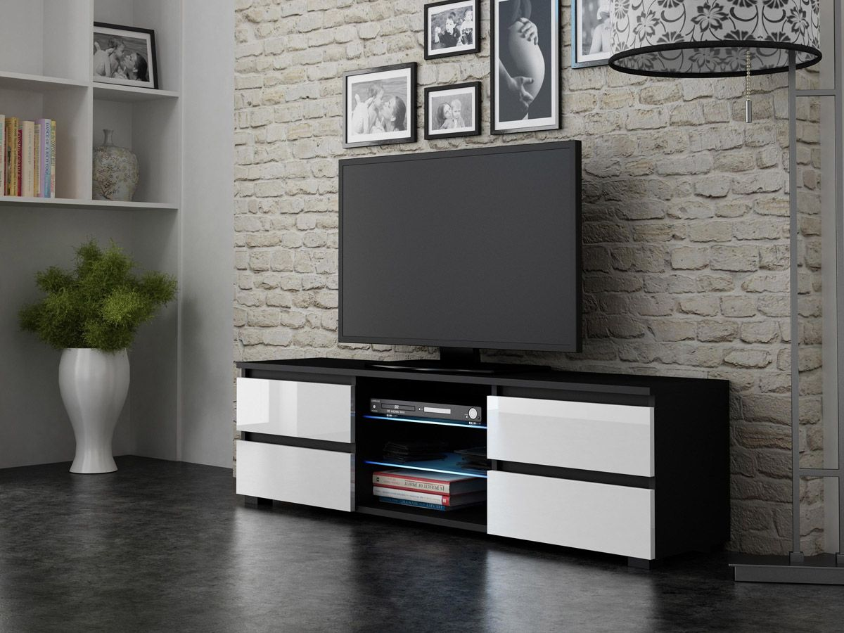4drawers Black Tv Unit White Tv Unit And Modern Tv Units # Meuble Tv Hifi Design
