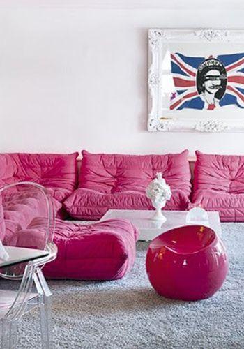 Pink sofa, Pink furniture, Pink Decor, Living room, Decor, Room ...