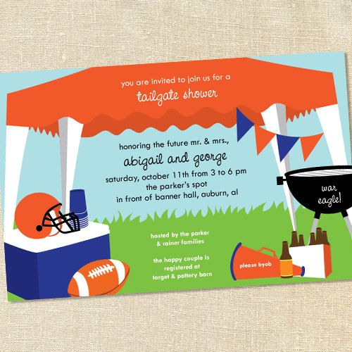 Tailgating Football Invitations For Bridal Showers Tailgating