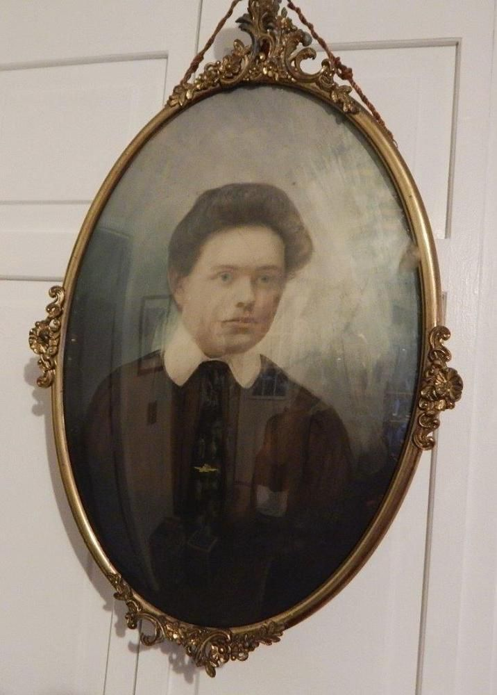 Antique Oval Metal Frame With Bubble Convex Glass And Vintage Woman