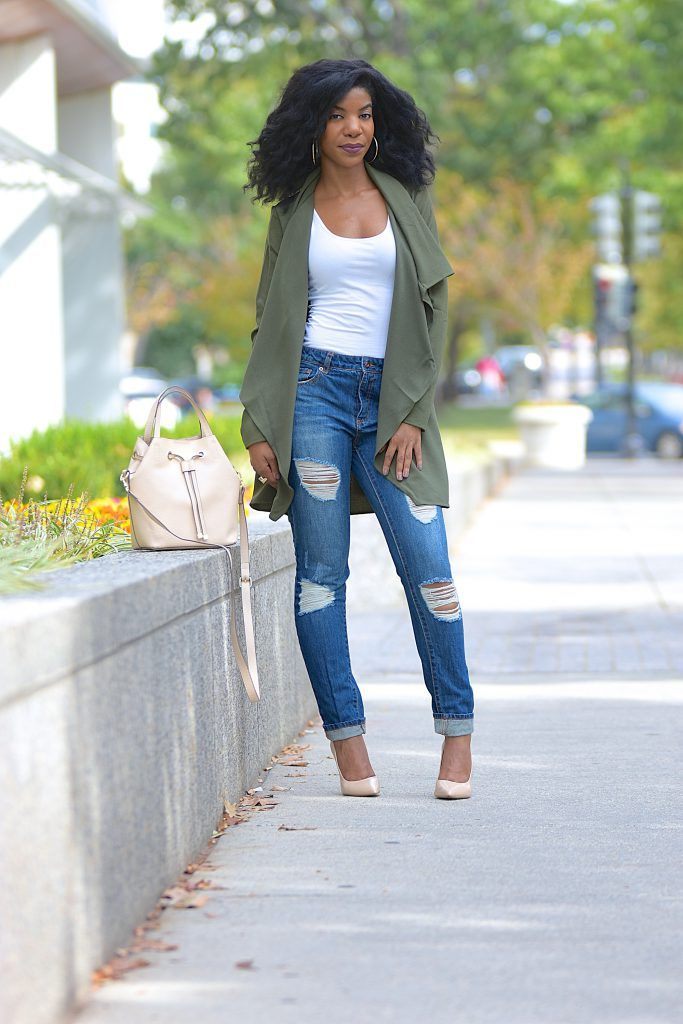 4e1f5ad94d Fall Style: Green SheIn Wrap Jacket + Ripped Boyfriend Jeans Waterfall  Jacket, Ripped Boyfriend