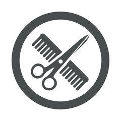 Icono redondo peluquería gris