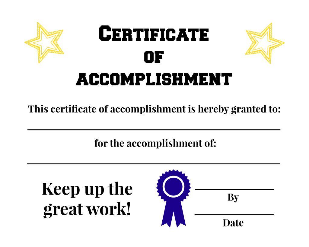 Acomplishment free certificate of accomplishment printable {everyone