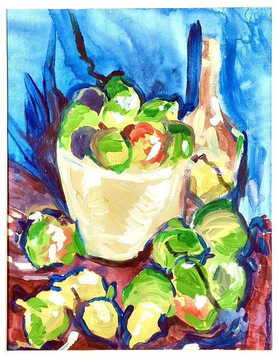 A ;photograph of a still life Wine and Green Apples done in acrylic on acrylic paper