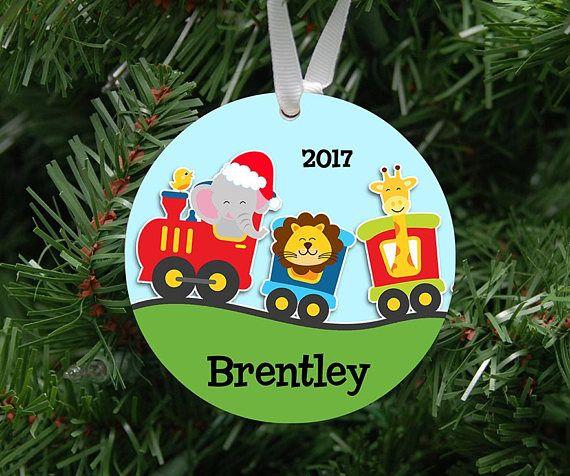 Personalized Kids Animal Choo Choo Train Ornament Keepsake My