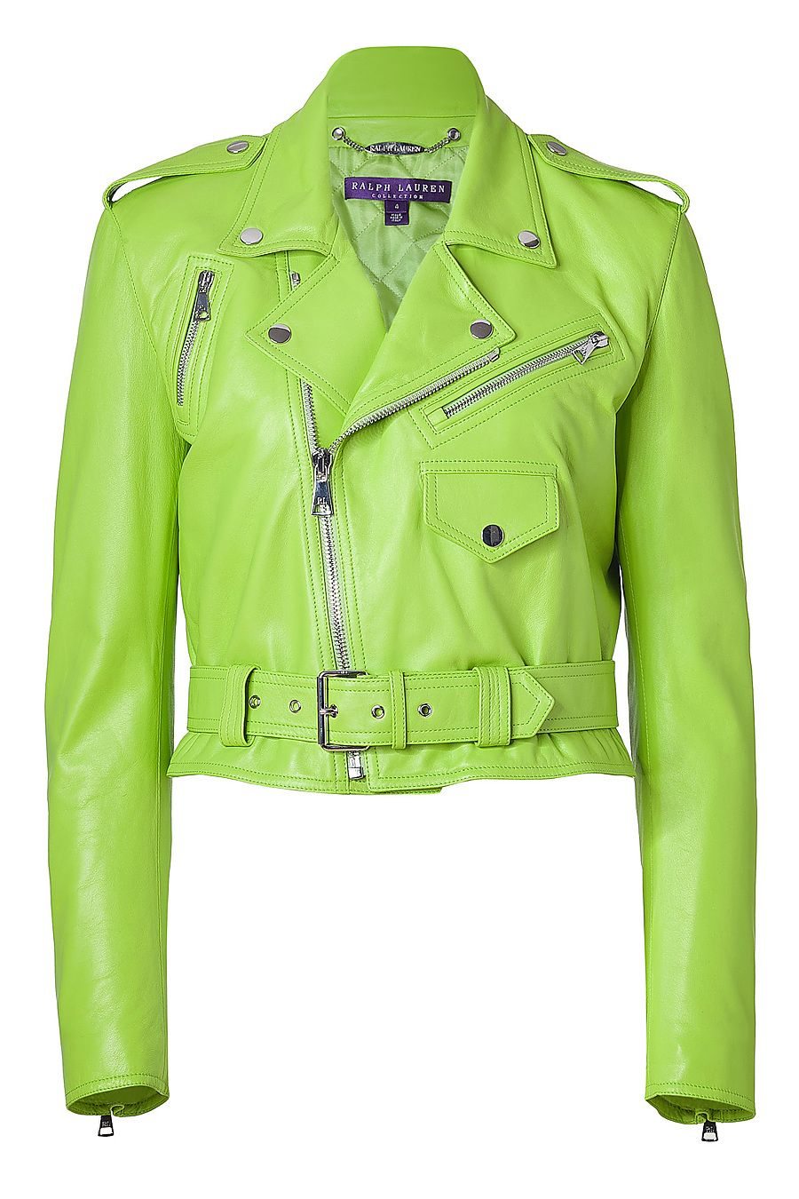 RALPH LAUREN Lime Green Glove Leather Jacket Leather